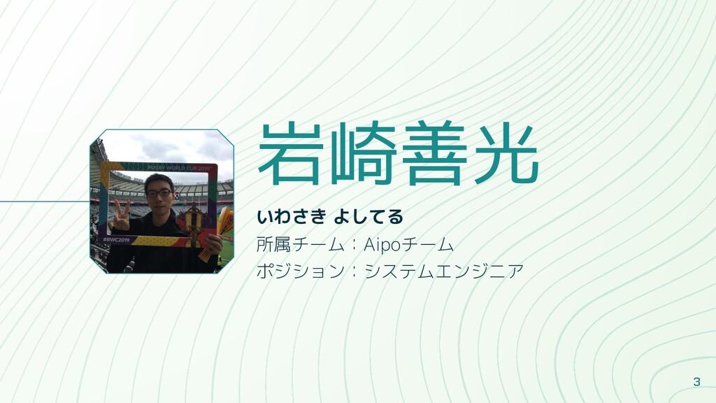 岩崎善光 いわさき よしてる 所属チーム:Aipoチーム ポジション:システムエンジニア 3