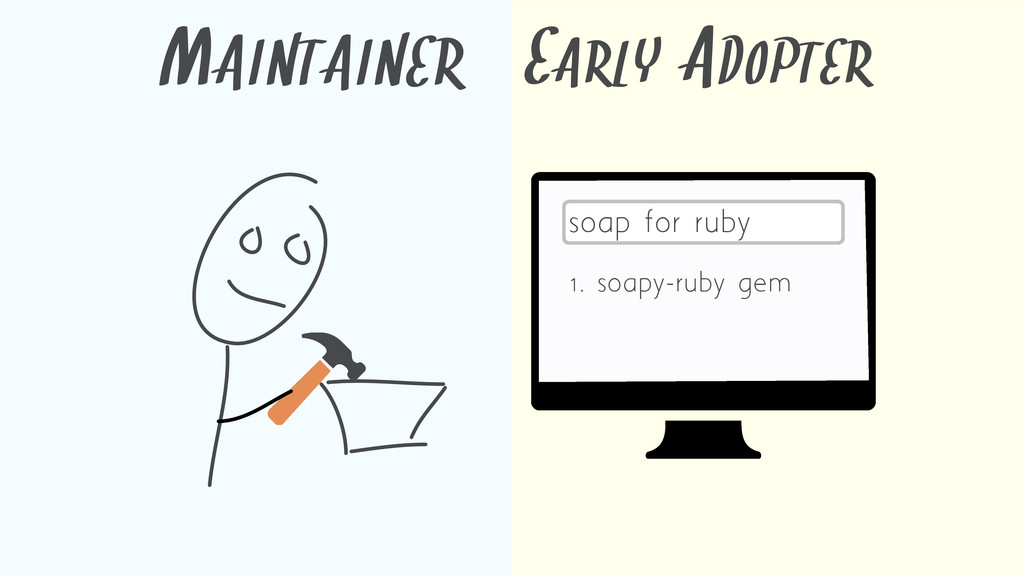 MAINTAINER EARLY ADOPTER soap for ruby 1. soapy...