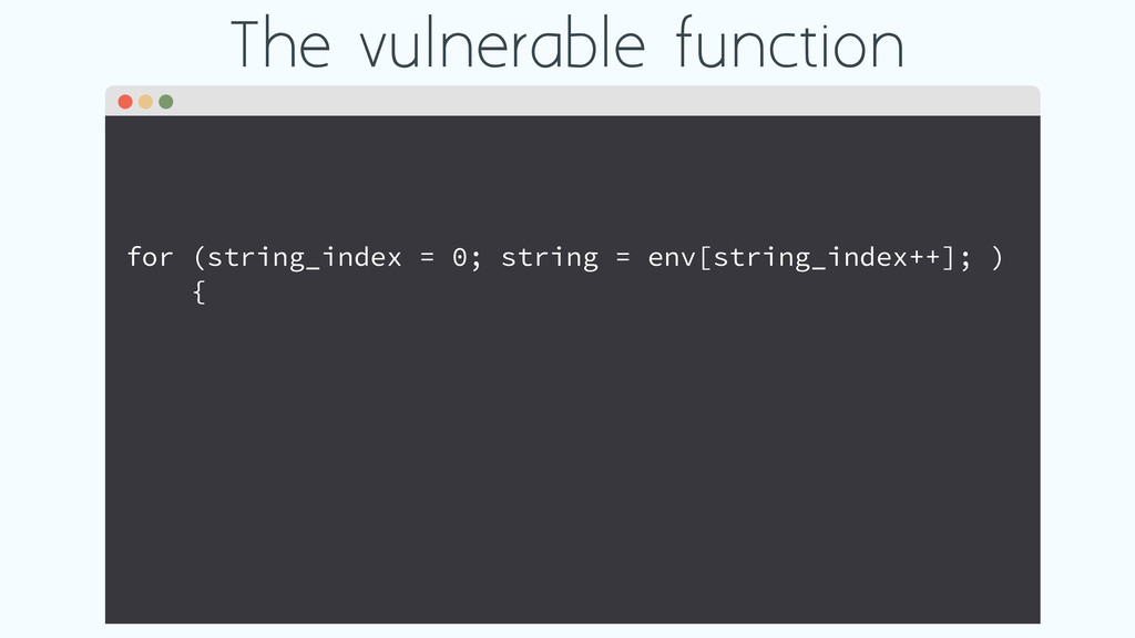 The vulnerable function for (string_index = 0; ...