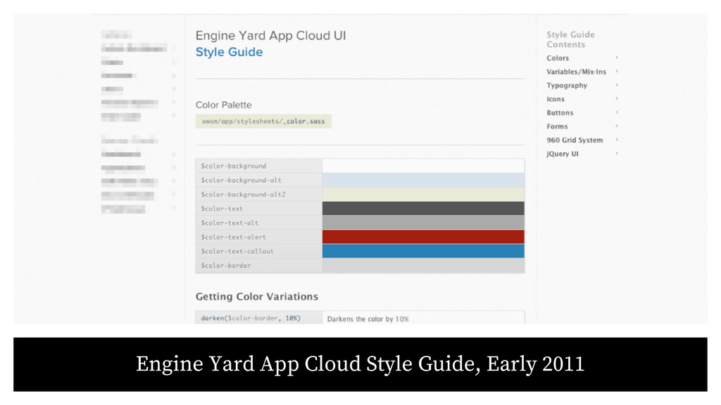 Engine Yard App Cloud Style Guide, Early 2011