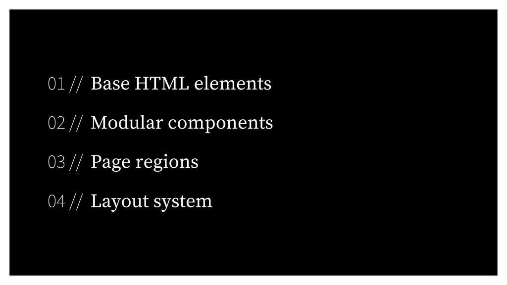 01 // Base HTML elements 02 // Modular componen...