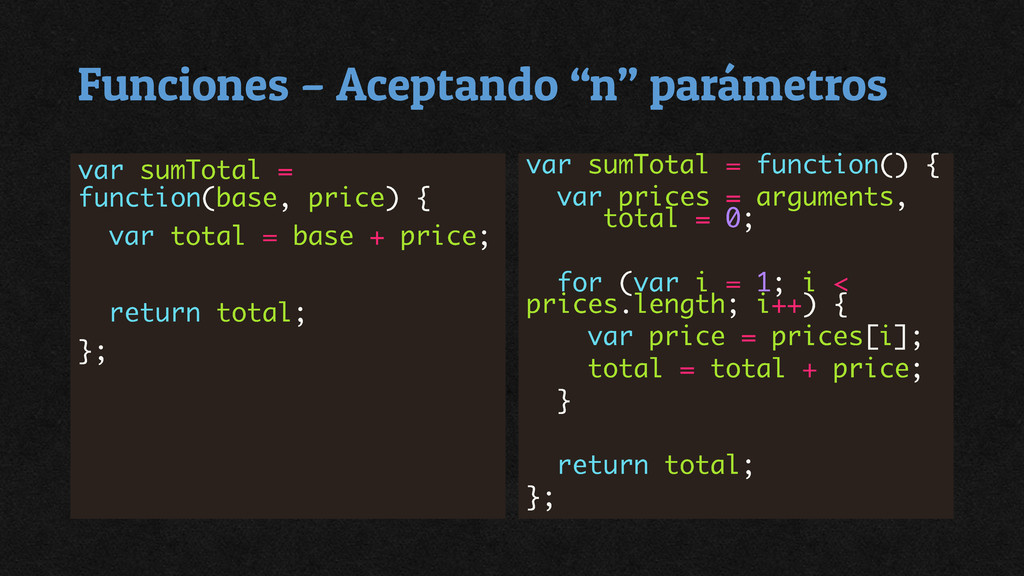 """Funciones – Aceptando """"n"""" parámetros"""