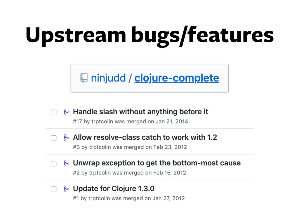 Upstream bugs/features