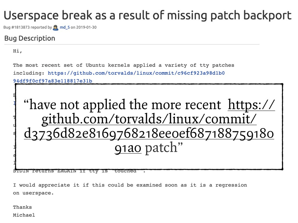 """""""have not applied the more recent https:// gith..."""