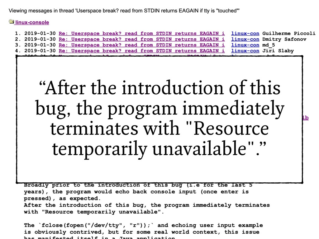 """""""After the introduction of this bug, the progra..."""