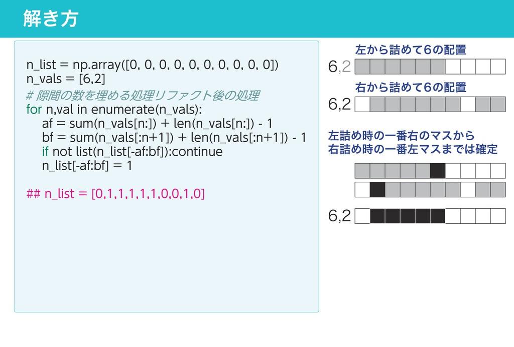 解き方 n_list = np.array([0, 0, 0, 0, 0, 0, 0, 0, ...