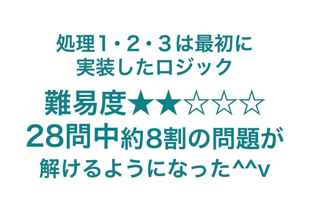 処理1・2・3は最初に 実装したロジック 難易度★★☆☆☆ 28問中約8割の問題が 解けるよう...