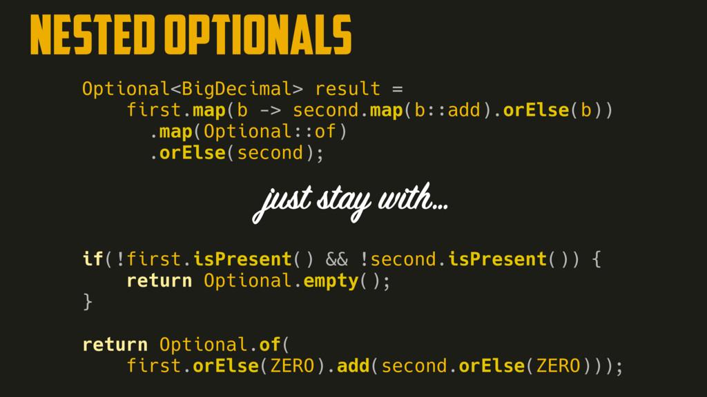 NESTED OPTIONALS Optional<BigDecimal> result = ...