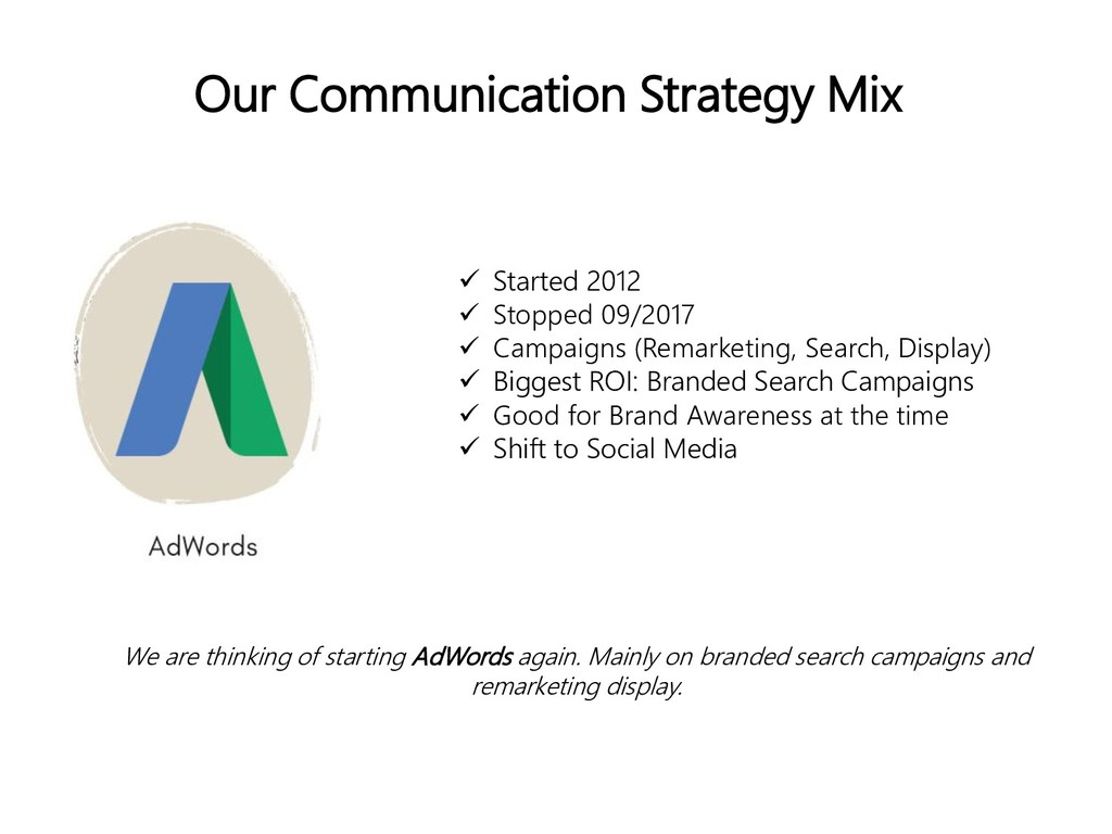 Our Communication Strategy Mix  Started 2012 ...