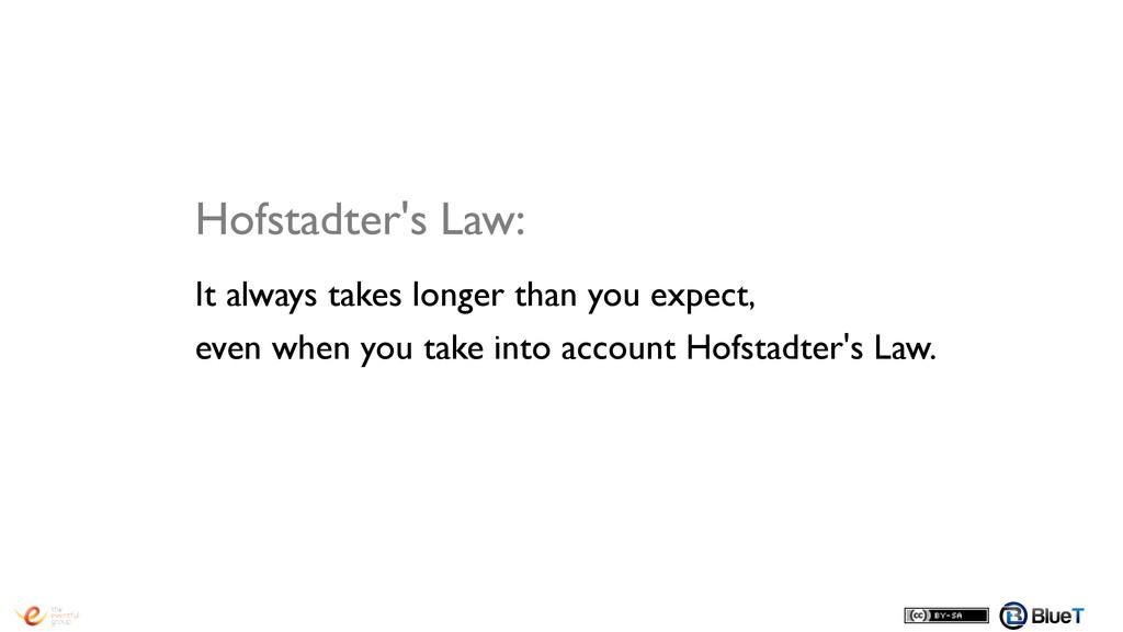 Hofstadter's Law:! It always takes longer than ...