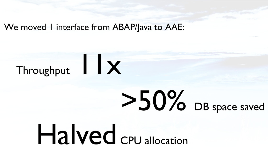 We moved 1 interface from ABAP/Java to AAE:! Th...