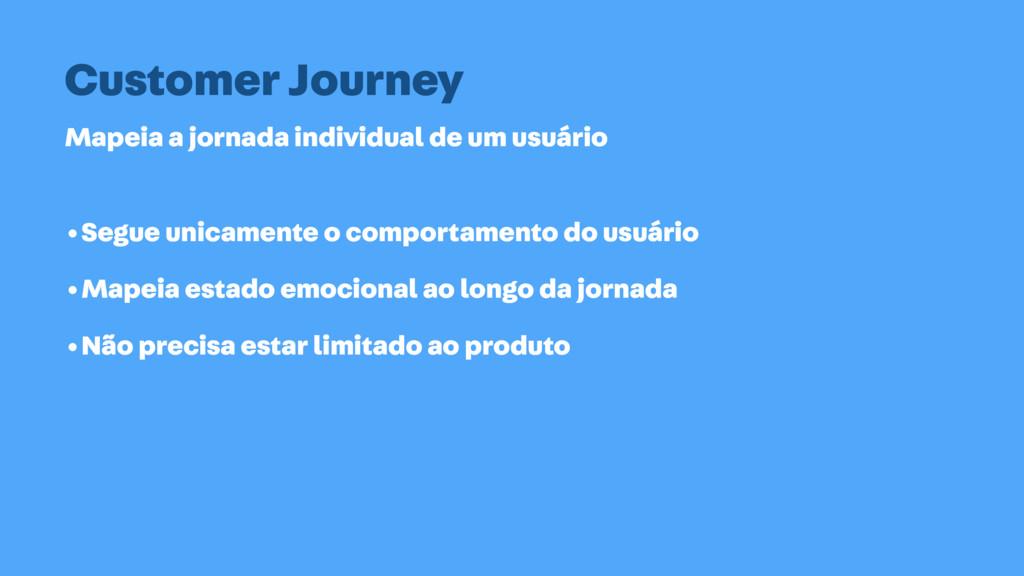 Mapeia a jornada individual de um usuário Custo...