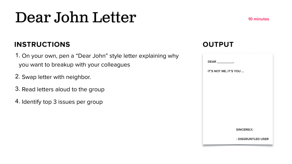 "Dear John Letter 1. On your own, pen a ""Dear Jo..."