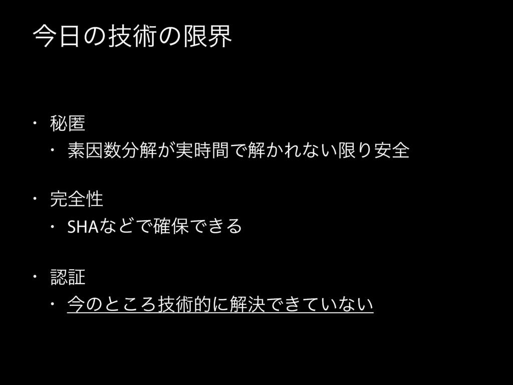 ࠓͷٕज़ͷݶք • ൿಗ • ૉҼղ͕࣮ؒͰղ͔Εͳ͍ݶΓ҆શ • શੑ • SHA...