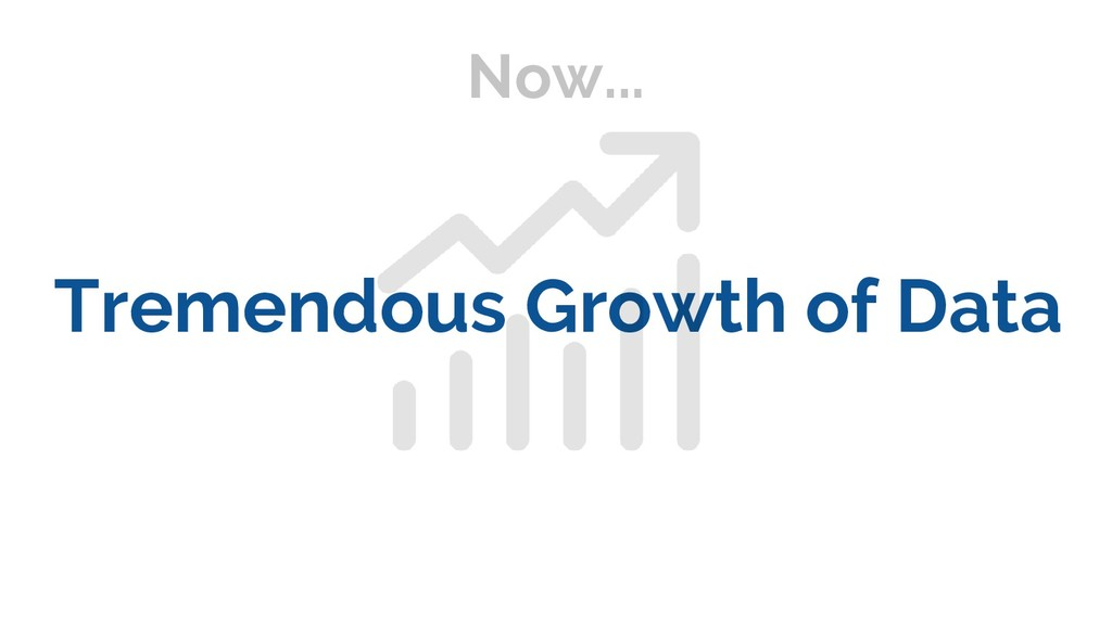 Now... Tremendous Growth of Data