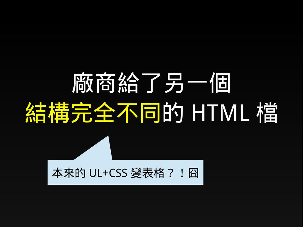 廠商給了另一個 結構完全不同的 HTML 檔 本來的 UL+CSS 變表格?!囧