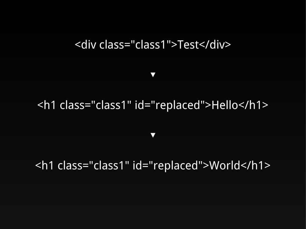 """<div class=""""class1"""">Test</div> ▼ <h1 class=""""cla..."""