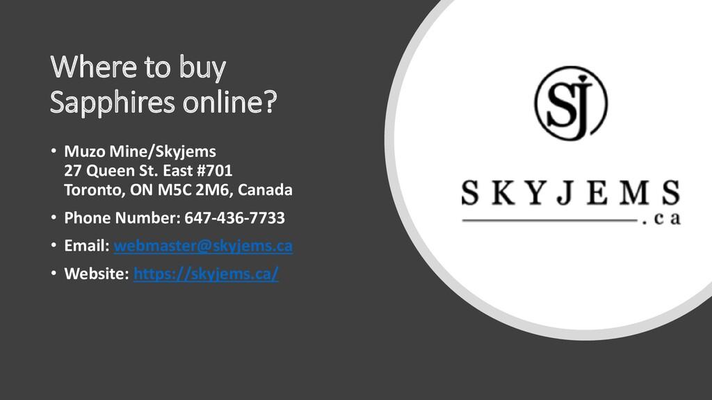 Where to buy Sapphires online? • Muzo Mine/Skyj...