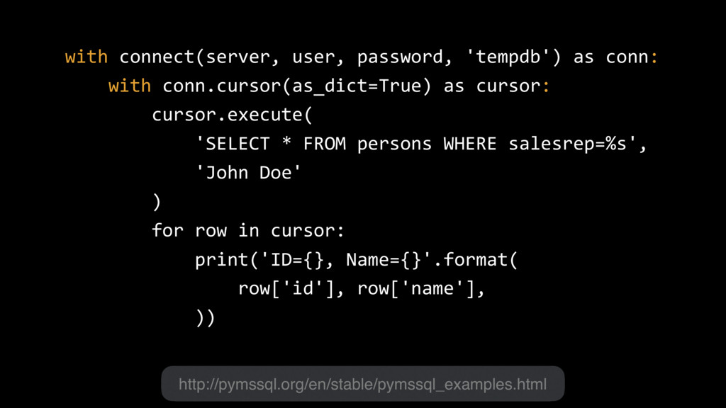 with connect(server, user, password, 'tempdb') ...