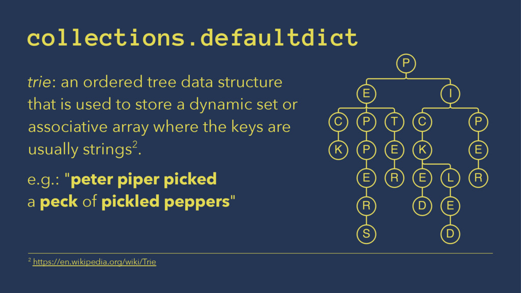 collections.defaultdict trie: an ordered tree d...