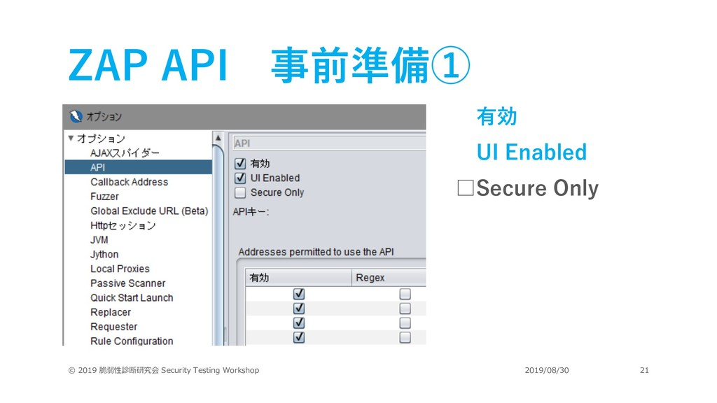 ZAP API 事前準備① 有効 UI Enabled □Secure Only © 2019...