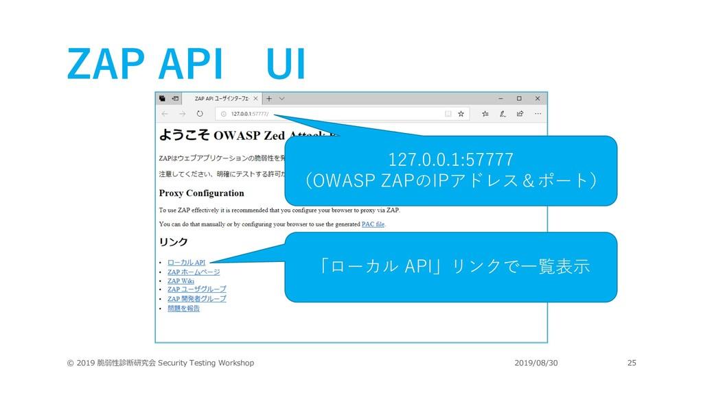 ZAP API UI © 2019 脆弱性診断研究会 Security Testing Wor...