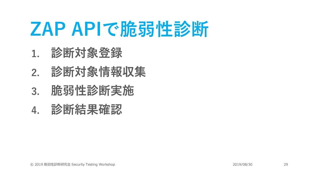 ZAP APIで脆弱性診断 1. 診断対象登録 2. 診断対象情報収集 3. 脆弱性診断実施 ...