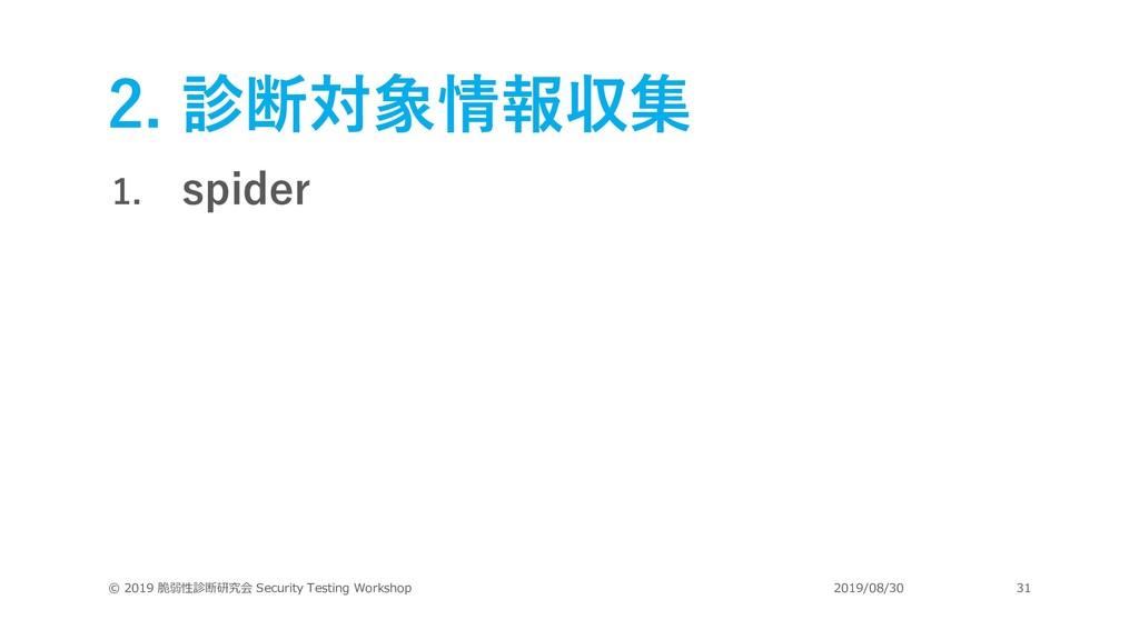 2. 診断対象情報収集 1. spider © 2019 脆弱性診断研究会 Security ...