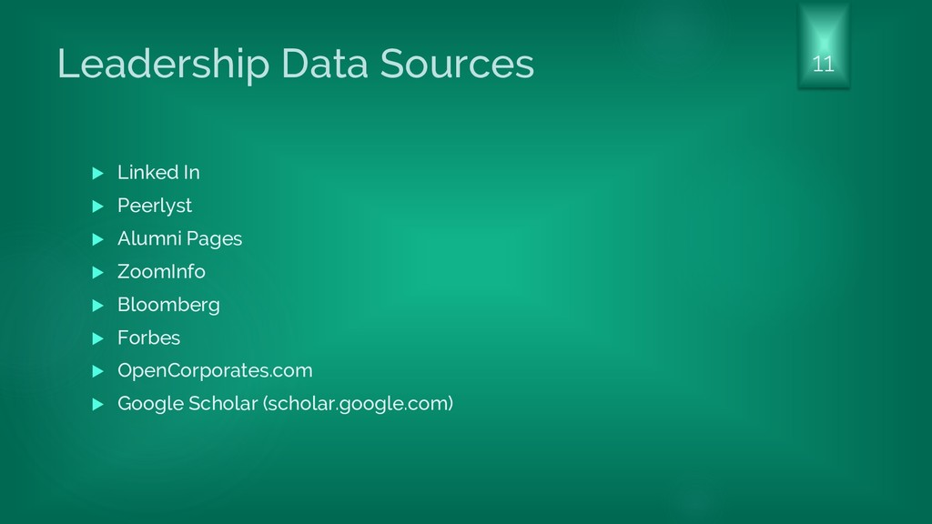 Leadership Data Sources  Linked In  Peerlyst ...
