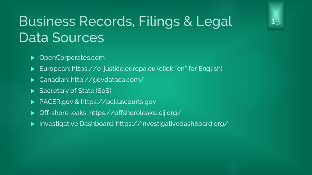 Business Records, Filings & Legal Data Sources ...