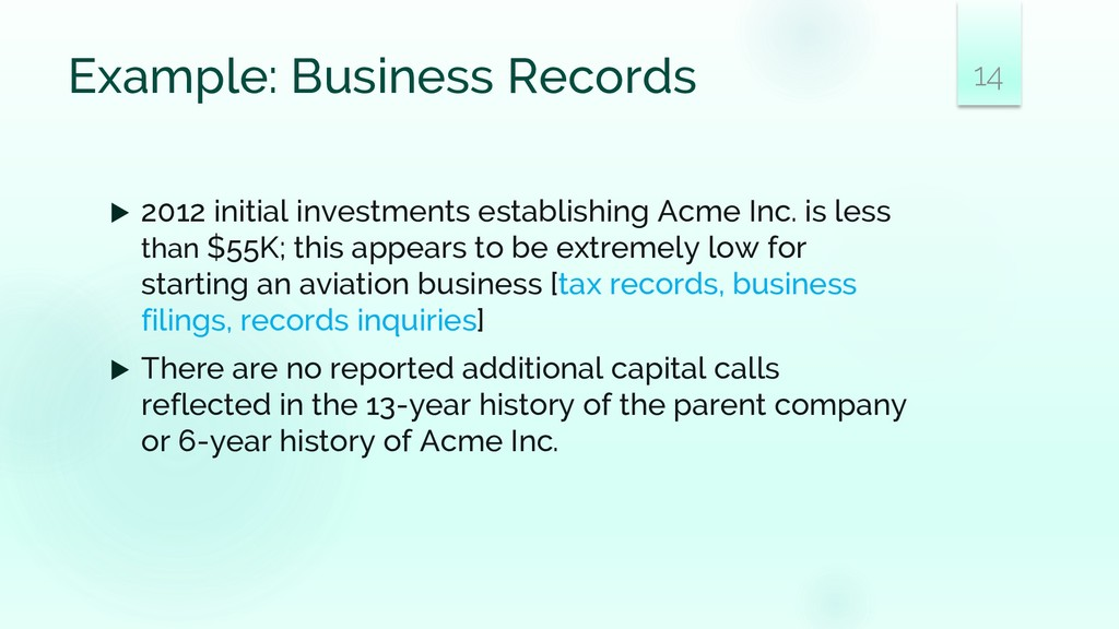 Example: Business Records  2012 initial invest...