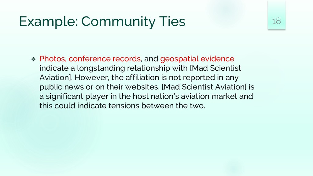 Example: Community Ties ❖ Photos, conference re...