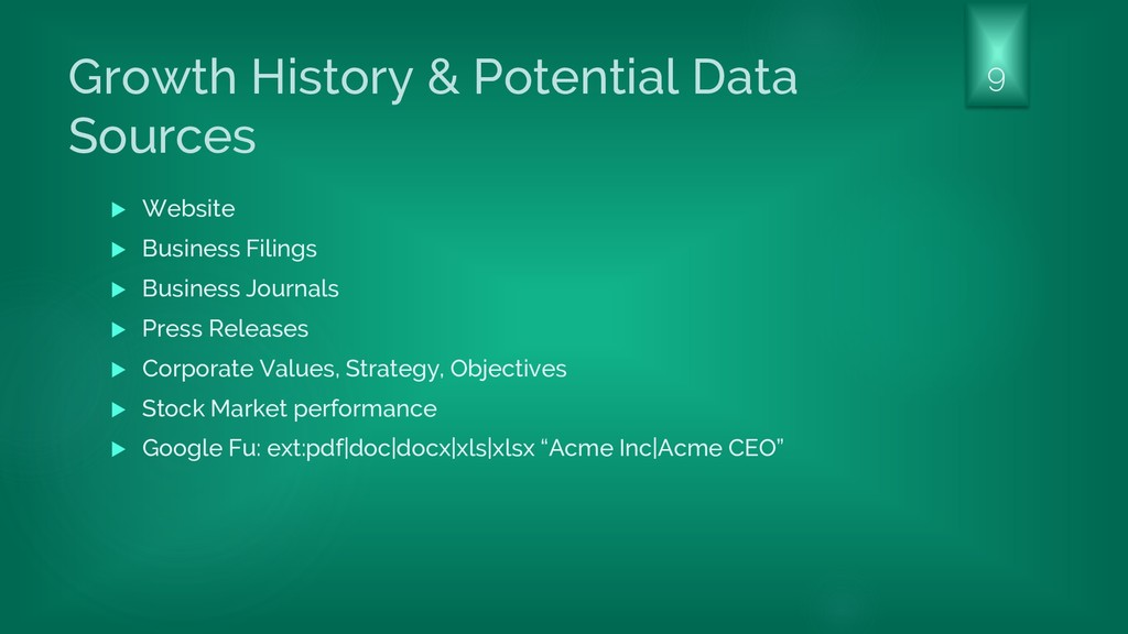 Growth History & Potential Data Sources  Websi...