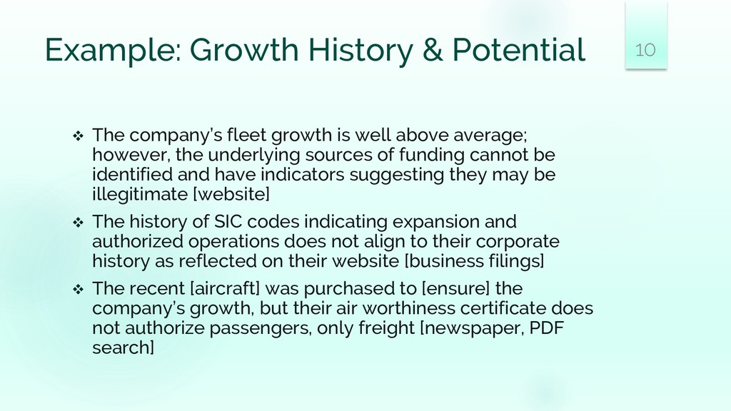 Example: Growth History & Potential ❖ The compa...