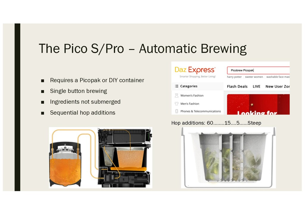 The Pico S/Pro – Automatic Brewing ■ Requires a...