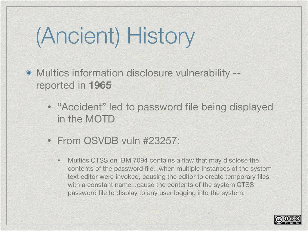 (Ancient) History Multics information disclosur...