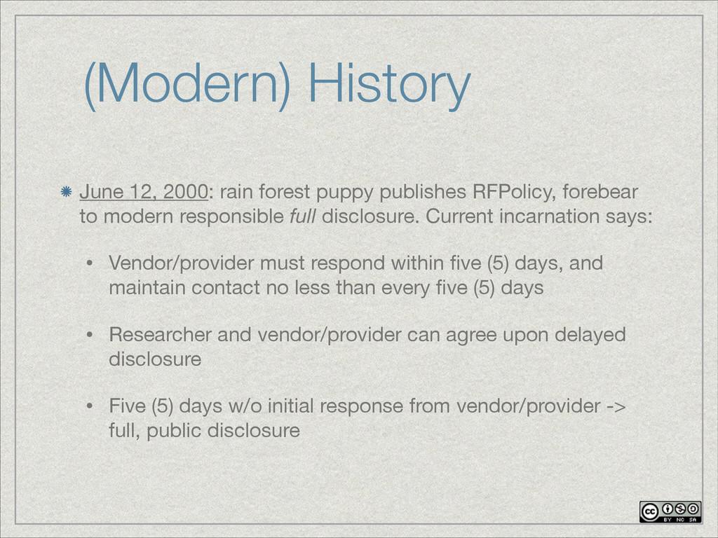 (Modern) History June 12, 2000: rain forest pup...