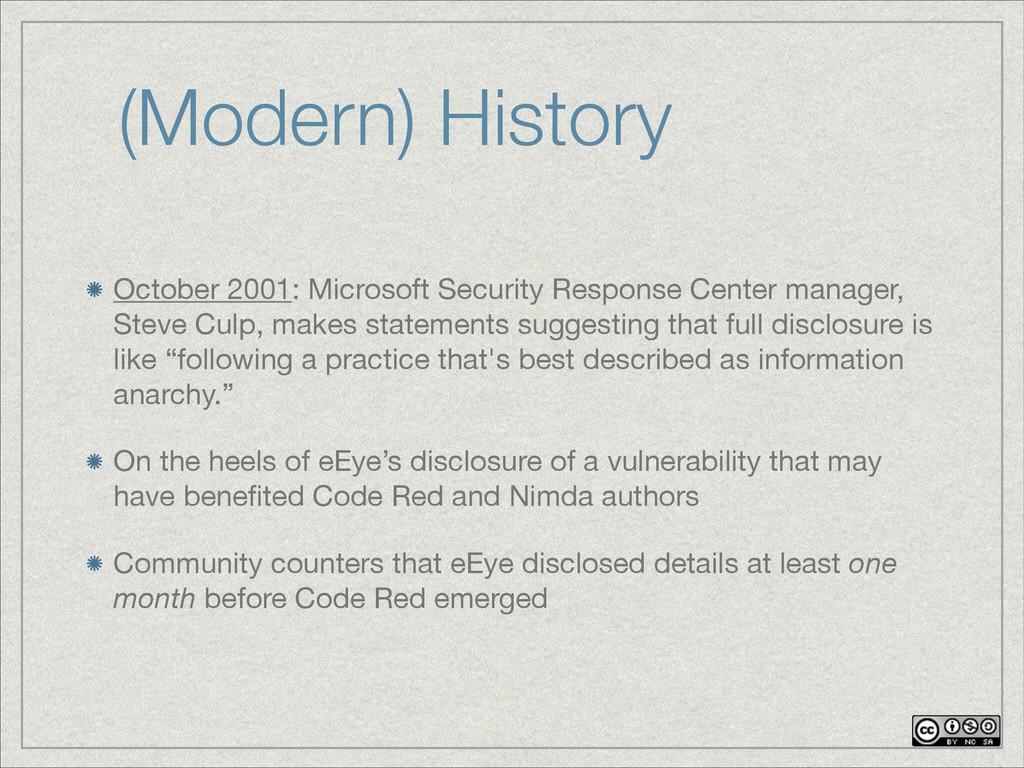 (Modern) History October 2001: Microsoft Securi...