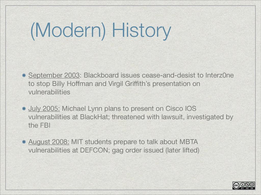 (Modern) History September 2003: Blackboard iss...