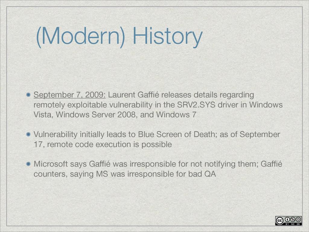 (Modern) History September 7, 2009: Laurent Gaffi...