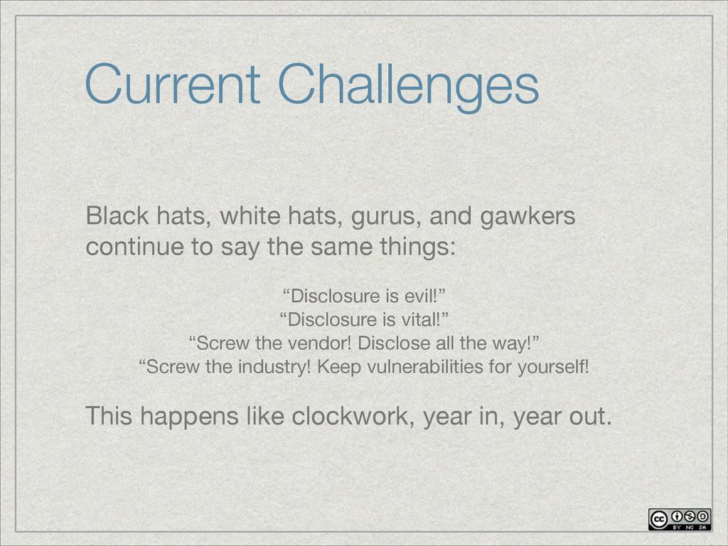 Current Challenges Black hats, white hats, guru...