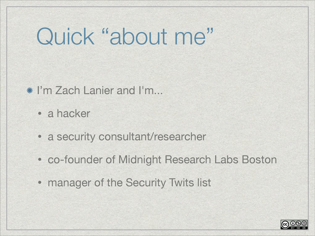 """Quick """"about me"""" I'm Zach Lanier and I'm...  • ..."""