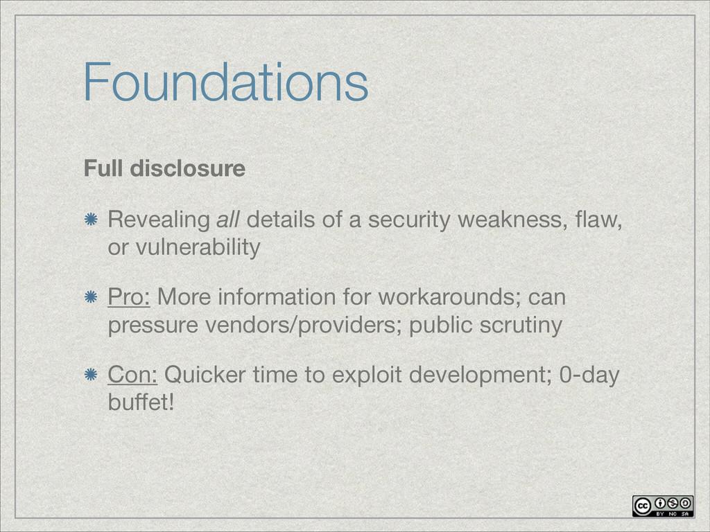 Foundations Full disclosure Revealing all detai...