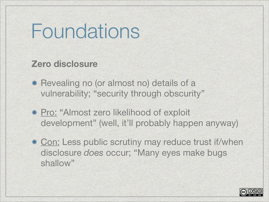 Foundations Zero disclosure Revealing no (or al...