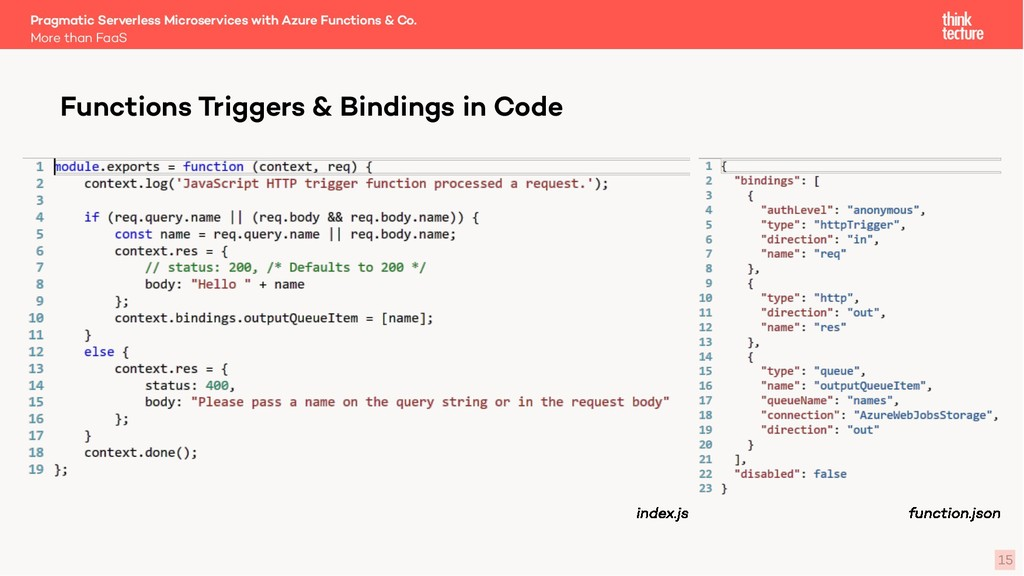 15 Functions Triggers & Bindings in Code More t...