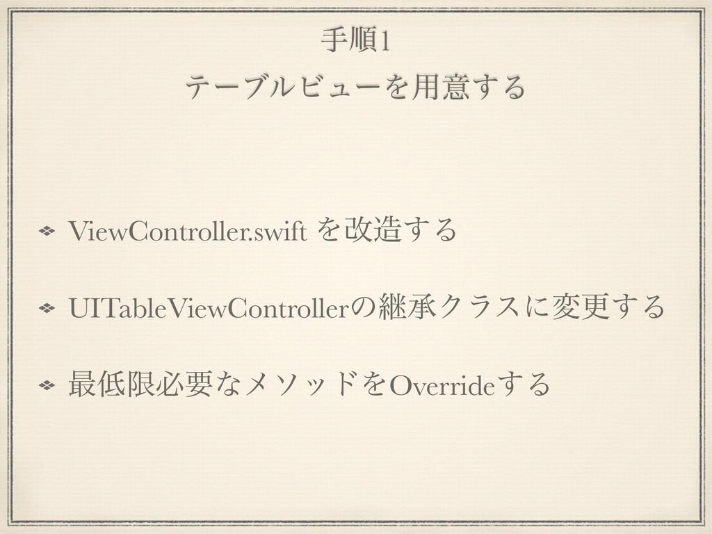 खॱ1 ςʔϒϧϏϡʔΛ༻ҙ͢Δ ViewController.swift Λվ͢Δ UIT...
