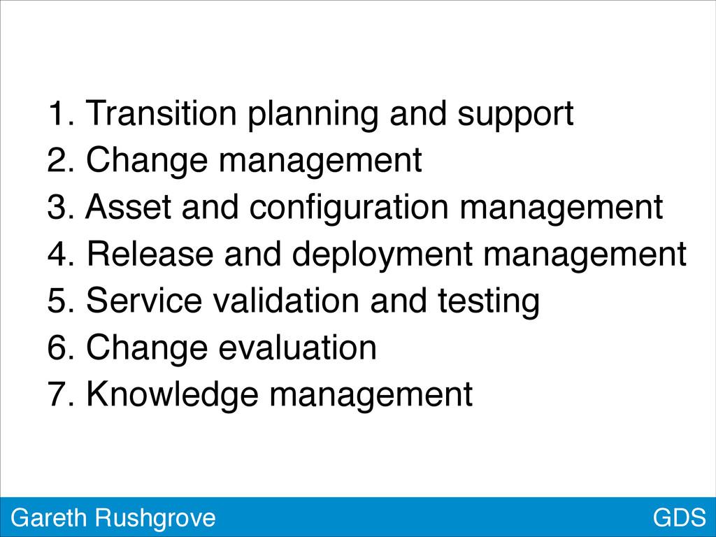 GDS Gareth Rushgrove 1. Transition planning and...