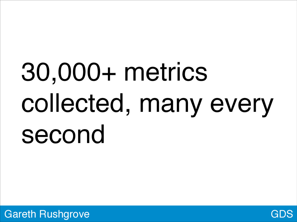 30,000+ metrics collected, many every second GD...