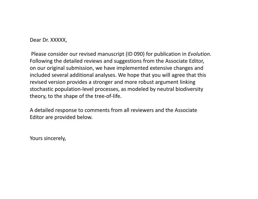 Dear Dr. XXXXX, Please consider our revised man...