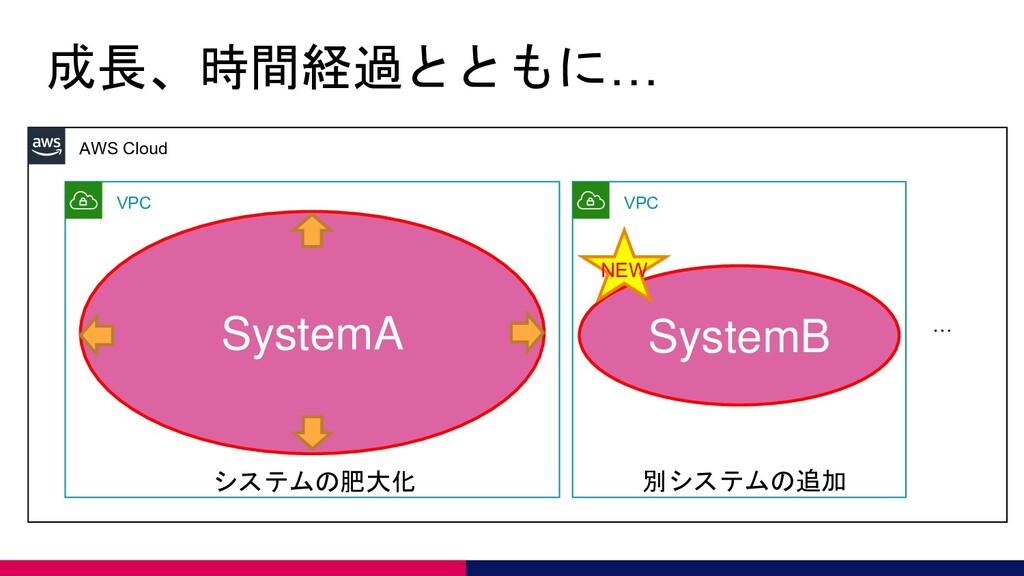 成長、時間経過とともに… AWS Cloud VPC SystemA VPC SystemB ...